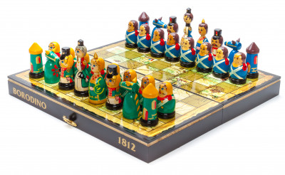 Wooden Chess Board with Soldiers of Battle of Borodino