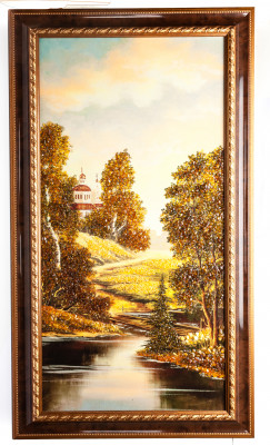 520x920 mm Autumn Landscape on red background hand made of natural Baltic Sea Amber stones (by Russian Amber)