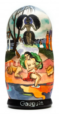 180 mm Day of the God by Gauguin hand painted on wooden Matryoshka doll 5 pcs (by Alexander Famous Paintings Studio)