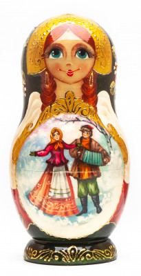120 mm Russian Winter hand painted on Wooden Matryoshka doll 5 pcs (by Valeria Crafts)