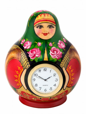 130 mm The Merchant's Wife hand painted wooden Table Clocks (by Golden Khokhloma)