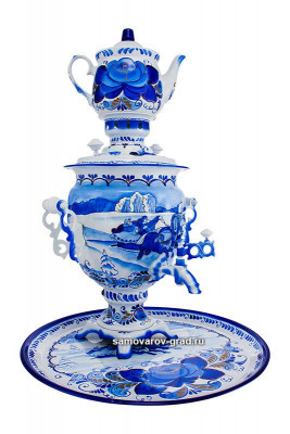 Winter Troika Hand Painted Electric Samovar Kettle with Teapot and Tray