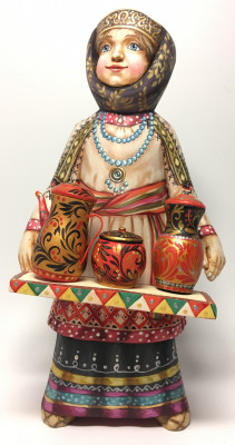220 mm Russian Girl in a Winter Dress with a Home Stuff hand painted Wooden Statue (by Karpova Nadezda)