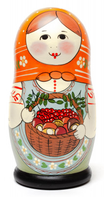 160 mm Maiden with the Basket of Berries and Mushrooms hand painted Traditional Russian Wooden Matryoshka doll 5 pcs (by Sergey Malyutin)