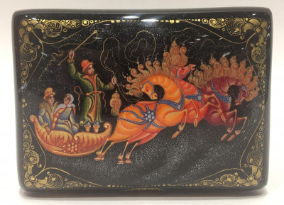 Russian Troyka Hand Painted Jewellery Box