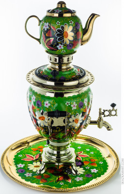 Daisies Hand Painted Electric Samovar Kettle with Teapot and Tray