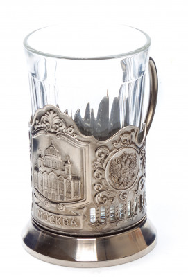 Moscow Cathedral of Christ the Saviour Nickel Plated Brass Tea Glass Holder with Faceted Glass (by Kolchugino)