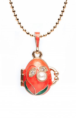 Lily of The Valley Opening Pink Egg Pendant