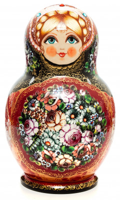 300 mm Zhostovo Patterns Hand Painted Matryoshka Doll 30 pcs (by Olga Zaitseva)