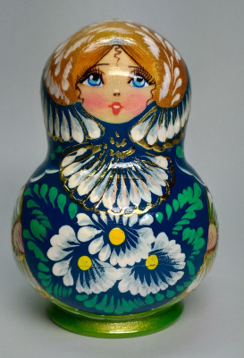 110mm Daisies Hand Painted Wooden Matryoshka doll 10 pcs (by Valentina Dolls)