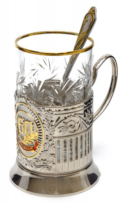 Anniversary 60 Years Gold Plated Brass Tea Glass Holder with Crystal Glass and Gold Plated Tea Spoon (by Kolchugino)