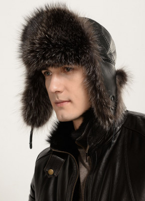 Dark Grey Raccoon Fur Hat with leather top Nazarov