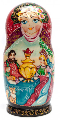260 mm Russian Dinner handpainted Wooden Matryoshka Doll 10 pcs (by Skazka)