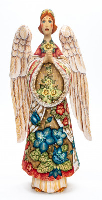 340 mm Mother Angel with Floral ornaments hand painted wooden figurine (by Kikin Studio)