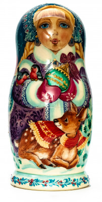 160 mm Snowmaiden Princess with Deer hand painted wooden Matryoshka 5 pcs (by Vasily Crafts)