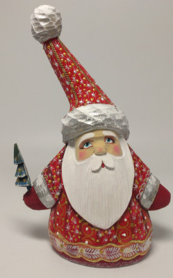 190 mm Santa Claus with Christmas tree (by Igor Carved Wooden Figures Studio)