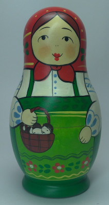 110 mm Maiden with a Basket of Mushrooms hand painted Traditional Russian Wooden Matryoshka doll 5 pcs (by Igor Malyutin)