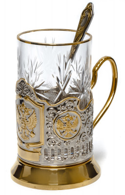 Coat of Arms Russia Gold Plated Brass Tea Glass Holder with Crystal Glass and Gold Plated Tea Spoon (by Kolchugino)