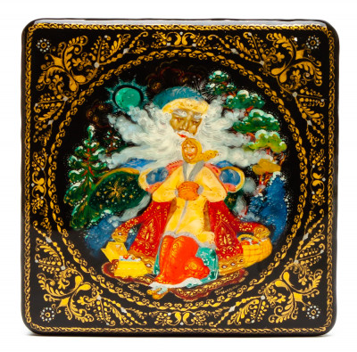70x70mm Morozko hand painted lacquered box from Palekh (by Pavel Studio)