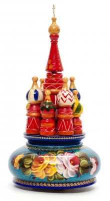 230 mm Saint Basil's Cathedral Zhostovo Art hand painted Wooden Music Box (by Nightingale Crafts)