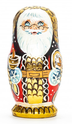 100 mm Santa Claus with Glasses hand painted wooden Matryoshka Doll 5 pcs (by Skazka)