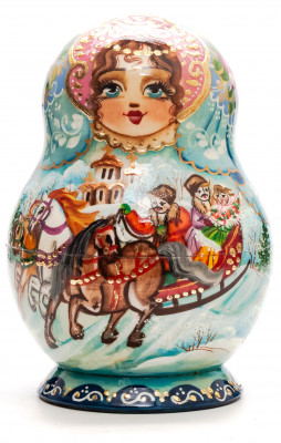 140mm Russian Winter hand painted Matryoshka round doll 10pcs
