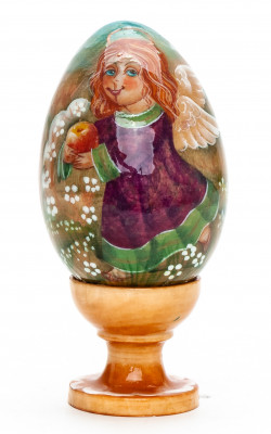 100mm Angel with an Apple handpainted wooden Egg with standby (by Andrey Christams Ornaments Studio)