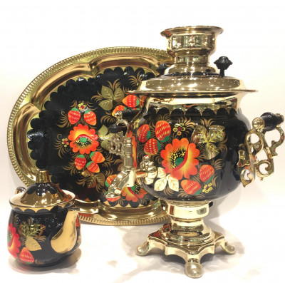 Poppies Russian Electric Samovar Kettle with Teapot and Tray