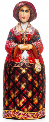 250mm Maiden in a Dress  hand painted Wooden Statue (by Karpova Nadezda)