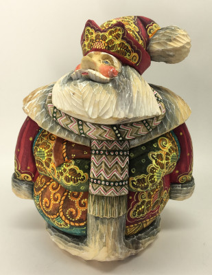 180 mm Round Santa Claus in a red Cap with Ornamental Painting (Kikin studio)