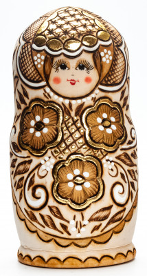 170 mm Northern Flowers hand painted Wood Burned Doll 5 pcs (by Nadia Studio)