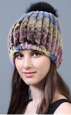 U Knitted Rabbit Fur Hat with Pompons