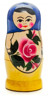 95 mm Dark Blue Head Semenovskaya Hand Painted Wooden Matryoshka Nesting Doll 4 pcs inside (by Ivan Studio)