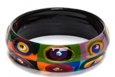 80x16 mm Squares with Concentric Circles by Kandinsky hand painted on wooden Bracelet (by A Studio)