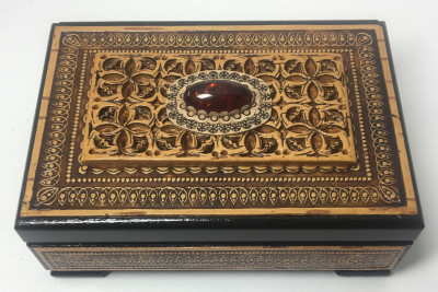 120x80 mm Siberian Patterns hand made Birchbark Jewelry Box with faux Amber stone (by Birch Gifts)