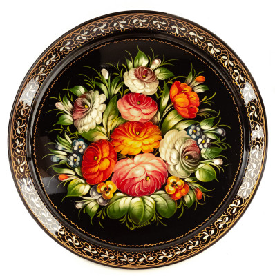 d 385 mm Zhostovo Patterns hand painted and lacquered by Anisimova Metal Forged Tray (by Lada Crafts)