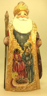 170 mm Santa Claus with a handpainted Christmas picture and with a Magic Staff Carved wooden figure, hand-painted (by Igor Wood Carving Figures Studio)
