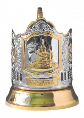 Moscow Snt Basil Cathedral Gold Plated Brass Tea Glass Holder with Crystal Glass and Gold Plated Tea Spoon (by Kolchugino)