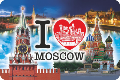 105x70 mm Moscow Kremlin I Love Moscow Fridge magnet (by AKM Gifts)