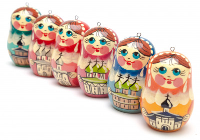 220x70 mm Russian Christmas Tree Ornaments set of 6 pcs (by Andrey Studio)
