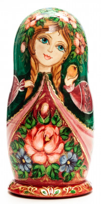 160mm Maiden with an Apple hand painted Matryoshka round Doll 5pcs (by Skazka)