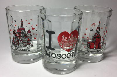 50 ml I Love Moscowl Decal Shot Glass set of 3 pcs (by AKM Gifts)
