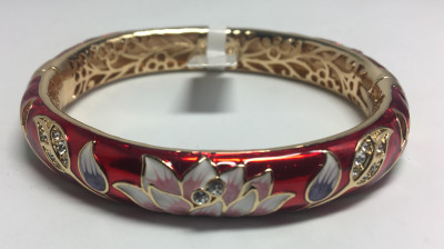 Lotus Red Bracelet with Enamel (by AKM Gifts)