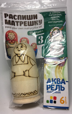 100 mm Blanc Matryoshka Traditional 1 doll 3 pcs inside with paints, brushes, instruction manual (by Sergey Carved Wooden Dolls)