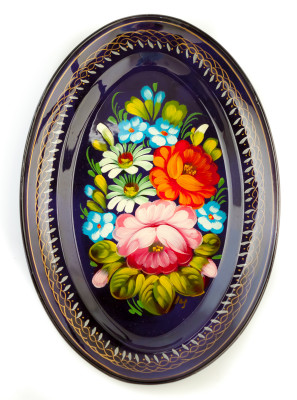 165x255 mm Zhostovo Patterns hand painted and lacquered Metal Forged Violet Tray (by Lada Crafts)