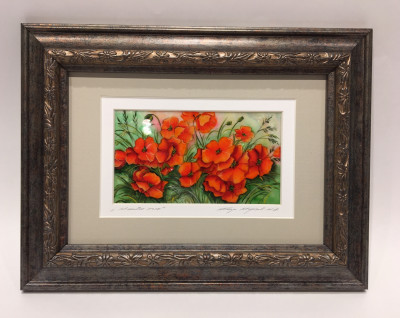 280x220mm Poppies Field hand painted on mother of pearl