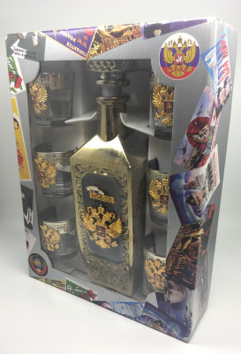 Russia Coat of Arms Decanter and Glasses Set