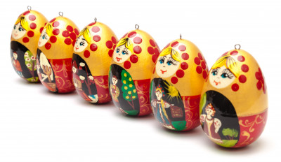 Russian Fairytales hand painted wooden Christmas Tree Ornaments