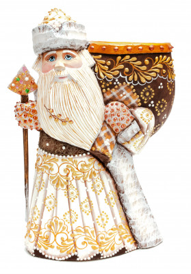 220 mm Santa with a Magic Staff and a Bag Carved Wood Hand Painted Collectible Figurine (by Natalia Nikitina Workshop)