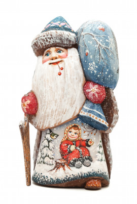 150 mm Santa with a Stick and a Bag with handpainted Children Wooden Carved Statue (by Karpova Nadezhda Studio)